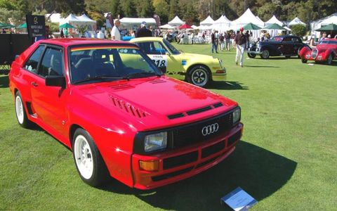 1984 Audi Sport Quattro Coupe from the 2007 Pebble Beach Automotive Weekend. A Rally Monte Carlo tribute.