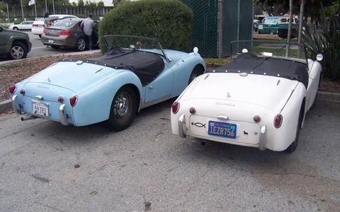 Also in the parking lot, a cute pair of Triumph TR3 roadsters looking like old friends.