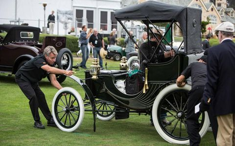 This Duryea Four-Wheel Phaeton was from a time when manufacturers felt compelled to point out that having four wheels was special.