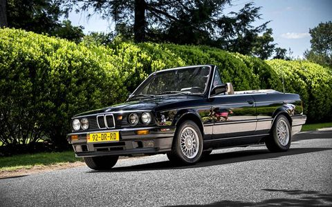 Here's a sharp E30 3-series cabrio. The yellow plate up front looks great we have to admit.