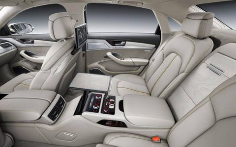 Executive reclining rear seats are available on the 2015 Audi A8L.