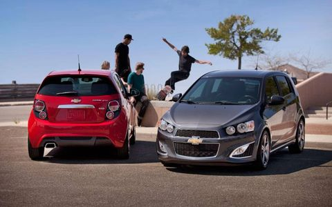 The 2013 Chevrolet Sonic RS will receive special model-specific touches, like an RS exclusive grille, new rear spoiler and unique 5-spoke 17-inch wheels.