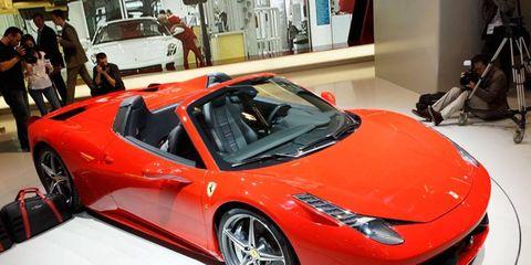 The Ferrari 458 Italia Spider from the floor of the Frankfurt auto show