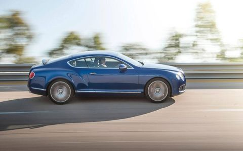 A modified suspension drops the Continental GT Speed a bit lower to the ground than the standard Continental GT.