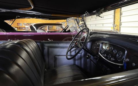 """Through the windows of this '32 Canadian Packard is a Meadowbrook-winning purple '31 LaSalle phaeton of Norma's: """"Women like the purple paint."""""""