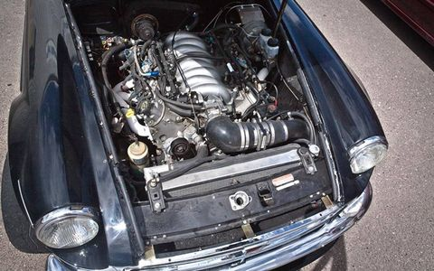 Tanner spent years shoehorning this small-block into his MGB GT.