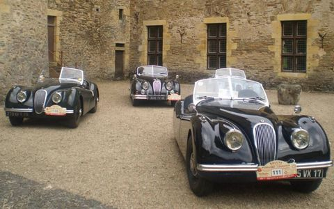 A group of Jaguars in the same courtyard during lunch break at Chateau de Jumilhac.