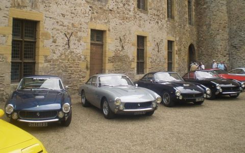 Four Ferrari 250 GT Lussos; there were eight Lussos on hand for the wekeend.