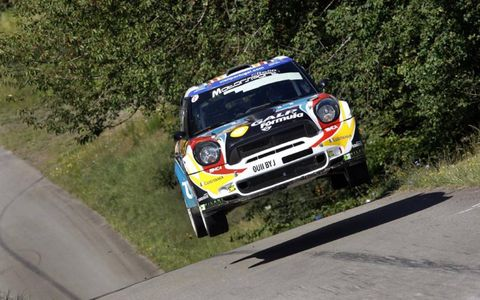 A Little Air//Armindo Araújo catches some hang time in his Mini WRC car during Rally Deutschland..LAT PHOTOGRAPHIC