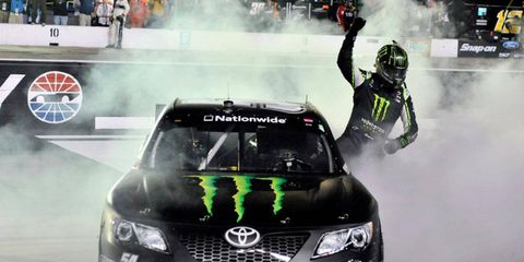 Kyle Busch won his 60th career NASCAR Nationwide race on Friday night at Bristol.