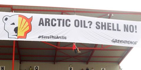 Greenpeace activists staged a protest against race sponsor Shell Oil at the Formula One Belgian Grand Prix on Sunday.