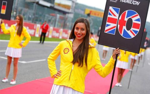 This grid girl from the Formula One Belgian Grand Prix is No. 10 in your program, No. 1 on the grid in support of pole sitter Lewis Hamilton.