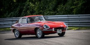 """The Jaguar E-Type was produced in three distinct series during its long production run, including a Series 1.5 that served as a """"transitional"""" model. The E-Type pictured above is a Series I coupe."""