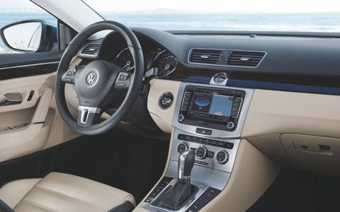 Our 2013 Volkswagen CC VR6 Executive 4Motion tester was equipped with a black-and-tan interior that was simple and straightforward.