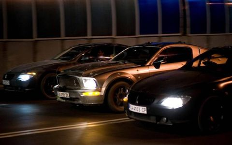 The Shelby sandwiched between BMW Coupes containing the world's worst bazooka shooter.