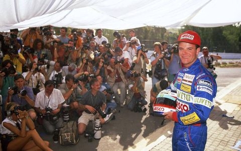 Kyalami, South Africa. 12th - 14th March 1993. Rubens Barrichello (Jordan), poses for the photographers.