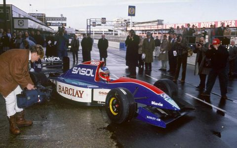 Silverstone, England. 15th January 1993. Rubens Barrichello, tests the new Jordan 193 Hart at Silverstone