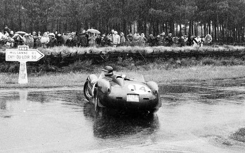1958 Le Mans 24 hours. Phil Hill, Ferrari 250TR, 1st position, spins in the rain.