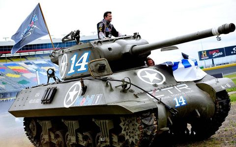 Tony Stewart took some time to ride around in a tank on Tuesday.