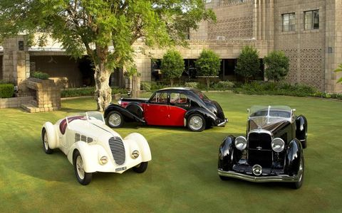 Some of the cars that'll be on the grass at the Arizona Biltmore Concours Jan. 12, 2014.