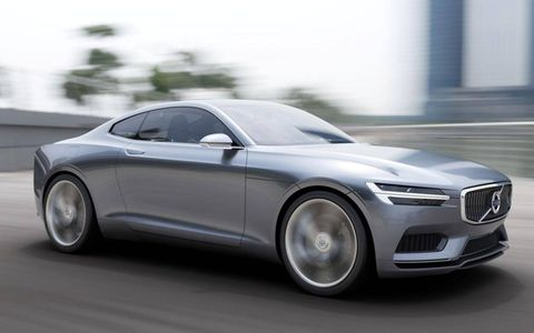 Volvo says the Concept Coupé gets a hybrid drive system with output approaching that of a conventional V8.