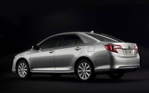 A side view of the 2012 Toyota Camry Hybrid