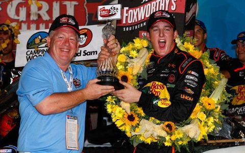 Ty Dillon celebrates his Camping World Truck Series win at Atlanta.