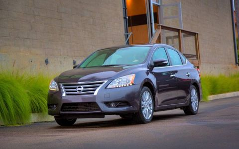 A front three-quarter view of the 2013 Nissan Sentra.