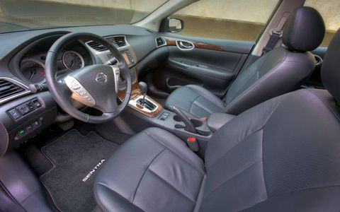 A interior view of the 2013 Nissan Sentra.