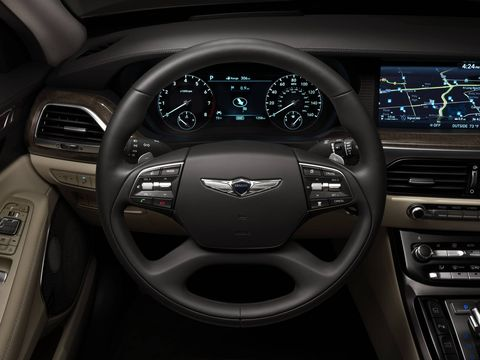 The Genesis G90 offers a 22-way power driver's seat and 16-way power front passenger seat with an integrated memory system.