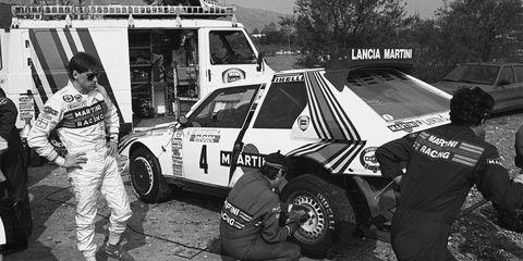 Toivonen stands next to his Lancia before the 1986 Tour de Corse rally.