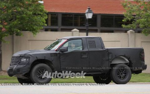 "A prototype of Ford's F-150 ""Raptor"""