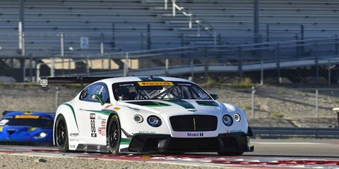 Guy Smith drove his Bentley Continental to the win on Friday at Miller Motorsports Park. It was his first win of the WRC season.