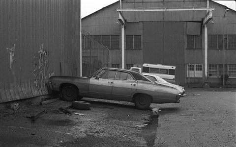 The spot where this '68 Chevy Caprice was parked is now condos instead of warehouses.