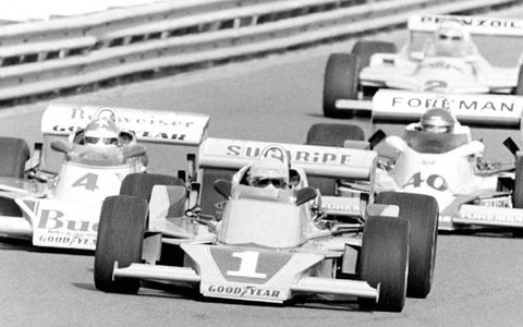 Tom Sneva (McLaren Cosworth) leads Johnny Rutherford (McLaren Cosworth) and Wally Dallenbach (Wildcat Cosworth) at the Phoenix Jimmy Bryan 150 in March 1979.World Copyright: LAT Archive