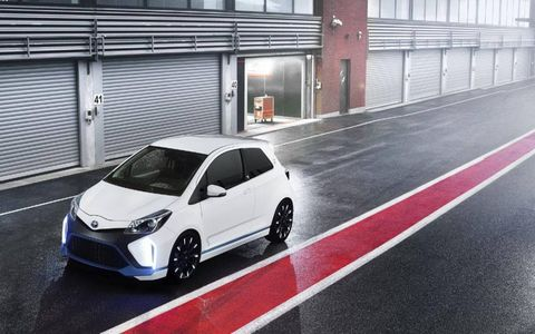 The The Toyota Yaris Hybrid-R delivers more than 400 hp with four motors, three of which are electric.