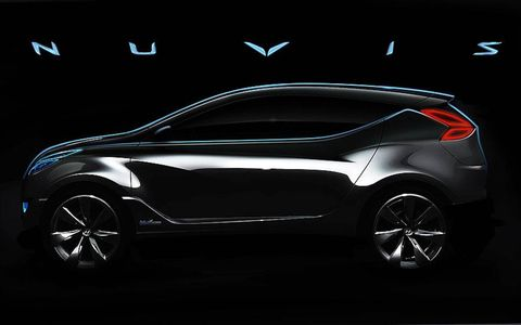 Hyundai says there is a new crossover in its product plans for the future, and it will offer up a hint of what it may look like with the Nuvis HCD-11 concept at the New York auto show. One detail not mentioned by Hyundai but captured in grainy spy photos circulating on the Web is that the Nuvis apparently has gullwing-style doors and seating for four.