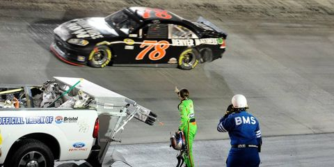 USE THE RIGHT DIGIT // Danica Patrick wags a finger at Reagan Smith after a wreck during the NASCAR Nationwide Series race on Aug. 25. The incident came in the midst of an encouraging performance by Patrick on Bristol's short track.