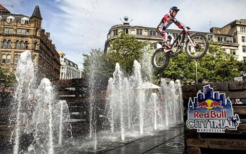 HE'S GOT WINGS //Adam Raga catches some air during Red Bull City Trial 2012 in Picadilly Gardens, Manchester, U.K. on Sept. 1.