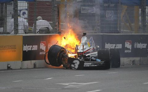 HITTING A WALL // IndyLights driver Victor Carbone wrecks in a practice run ahead of the Baltimore Grand Prix.