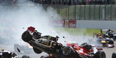 2012 Belgian Grand Prix: Crash at the start of the race.