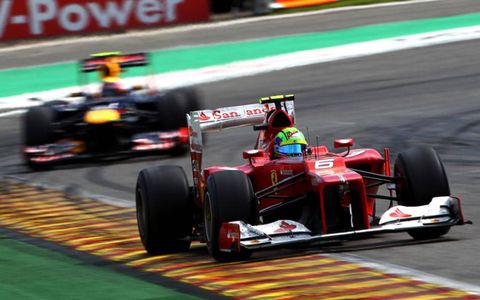 2012 Belgian Grand Prix: Felipe Massa, Ferrari F2012, leads Mark Webber, Red Bull RB8 Renault.