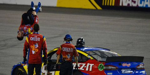 Carl Edwards knows how to celebrate a NASCAR Sprint Cup Series win at Richmond.