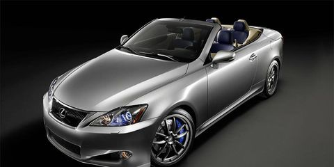 The Lexus IS C with F-Sport accessories is shown.