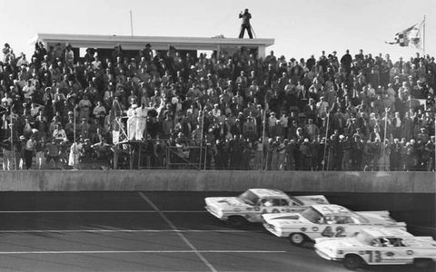 The Daytona 500 has seen many memorable finishes during its nearly 50-year run, including the first one, in 1959. Joe Weatherly (top) leads Lee Petty (center) and Johnny Beauchamp to the finish line. Weatherly was actually two laps down, and Petty beat Beauchamp for the historic win, but it took some sorting out, because Beauchamp was initially awarded the victory.