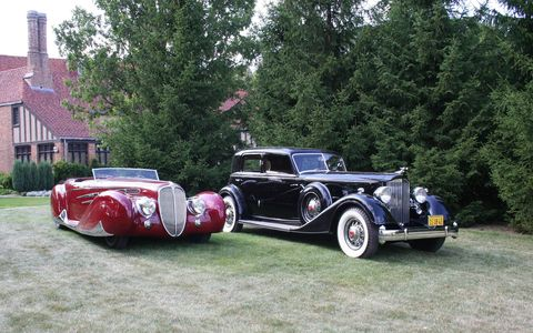 The 1939 Delahaye (left) and 1934 Packard won best of show honors.