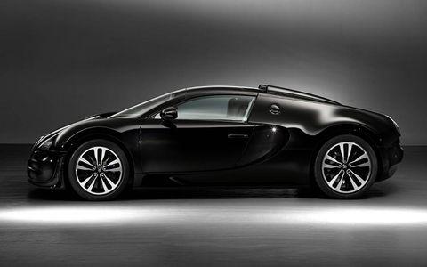 """Les Légendes de Bugatti:"" black cars, black cards, all black everything."