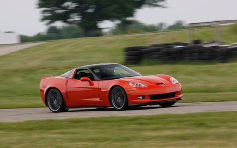 The 2011 Corvette Z06 at speed on the track.