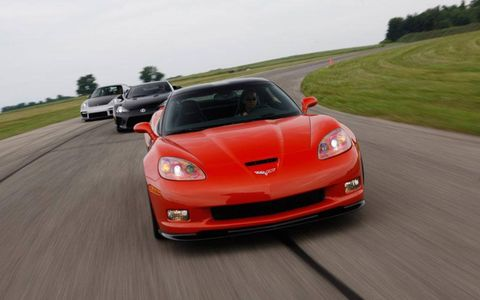 The Chevrolet Corvette Z06 leading a Lexus LFA and Porsche 911 GT2.