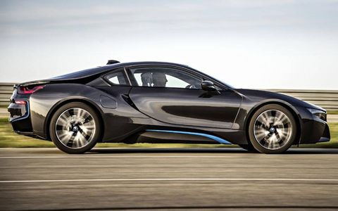 Heavy use of carbon fiber keeps the i8's curb weight down to 3,285 lb.